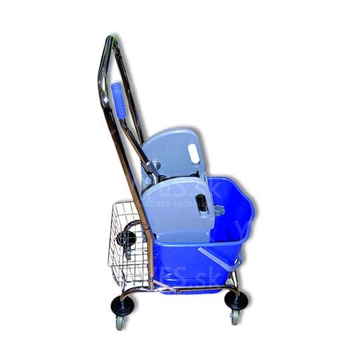 Upratovací vozík PRESS 1 x 23 l chrom s košíkom