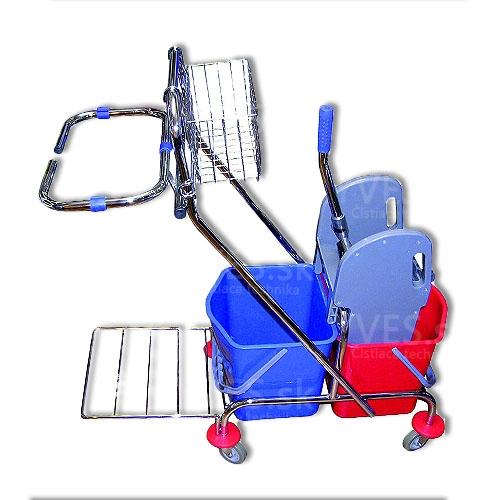 Upratovací vozík PRESS 2 x 17 l chrom s vrecom + košík