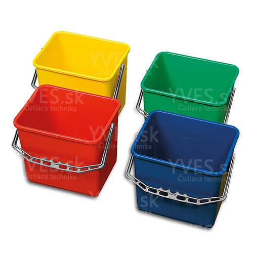 Vedro plast 6 l, červené modré zelené žlté